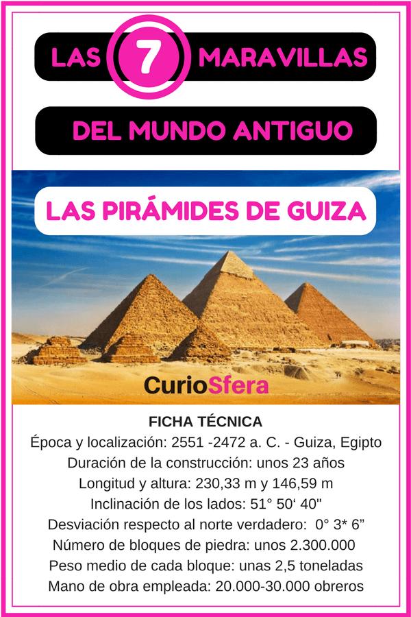 infografía maravillas del mundo antiguo pirámides de Giza