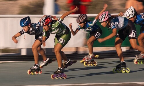 Carrera de patines sobre ruedas