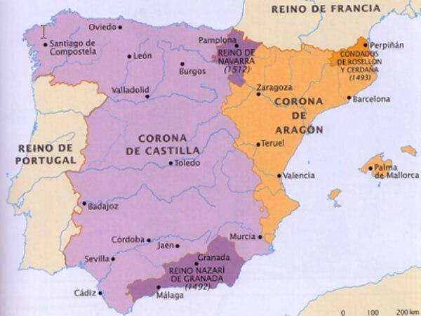 Mapa unificación reinos de España