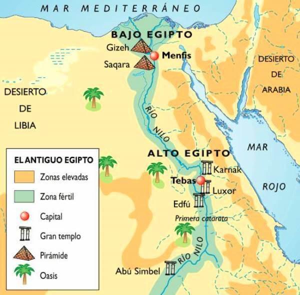 alto y bajo Egipto mapa antiguo