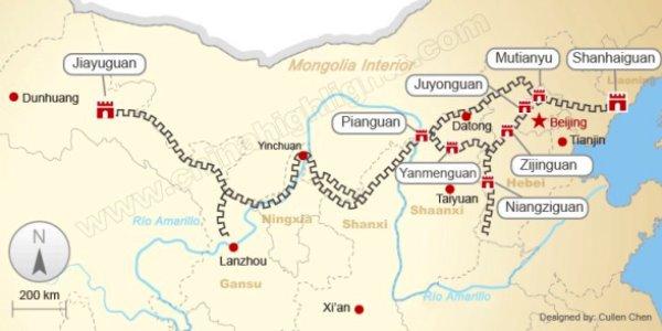 ubicación gran muralla china