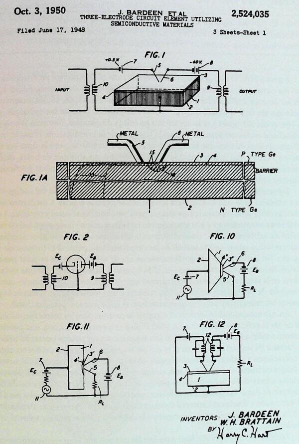 patente del primer transistor